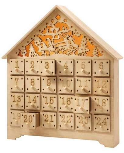 led adventskalender kalender holz schubladen lichterkette. Black Bedroom Furniture Sets. Home Design Ideas