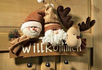 willkommen schild t rdeko weihnachten deko weihnachtsman. Black Bedroom Furniture Sets. Home Design Ideas