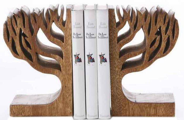 2 stck set holz buchst tzen book buchst nder buchhalter braun baum neu ebay. Black Bedroom Furniture Sets. Home Design Ideas