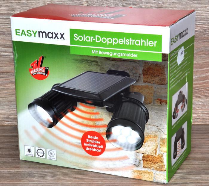 solar doppelstrahler mit bewegungsmelder von easymaxx led beleuchtung neu. Black Bedroom Furniture Sets. Home Design Ideas