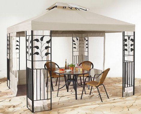 2tlg ersatzdach 3x4 m dach pavillonteil garten pavillon bl tter beige sand neu ebay. Black Bedroom Furniture Sets. Home Design Ideas