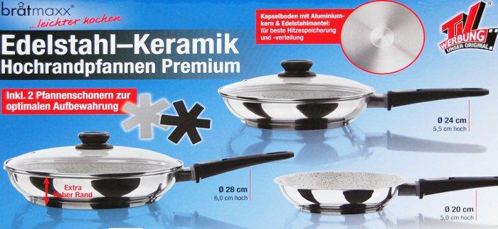 7 tlg pfannen set by brat maxx induktions keramik pfanne anti haft ofen hochrand ebay. Black Bedroom Furniture Sets. Home Design Ideas