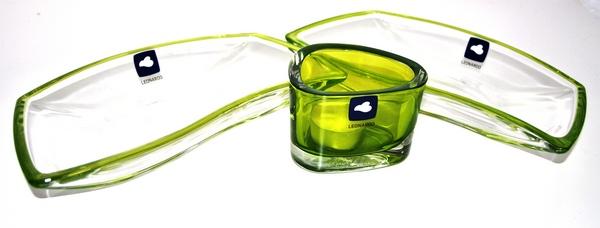 3 tlg set leonardo glas schale platte finger food servier set gr n neu ebay. Black Bedroom Furniture Sets. Home Design Ideas