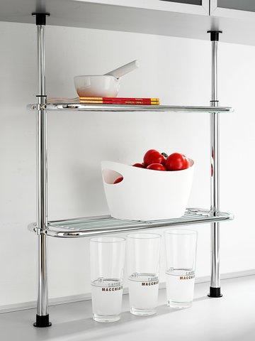 Scaffale di bloccaggio con cesto ripiano di wenko cucina scaffale cucina scaffale telescopico - Scaffale cucina ...