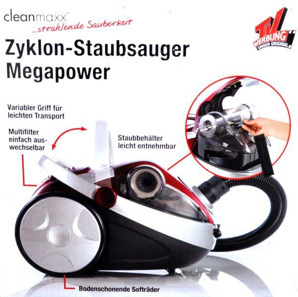 zyklon staubsauger megapower 3000w bodenstaubsauger by cleanmaxx beutellos ebay. Black Bedroom Furniture Sets. Home Design Ideas