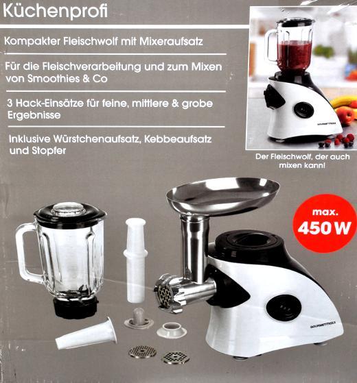 Küchenprofi Fleischwolf ~ 2 in 1 fleischwolf kÜchenprofi mit mix aufsatz von gourmetmaxx smoothie neu ebay