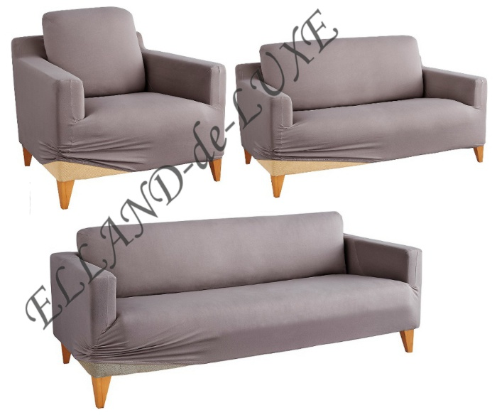 3 tlg hussenset set anthrazit stretchhusse husse sofahusse sesselhusse neu ebay. Black Bedroom Furniture Sets. Home Design Ideas
