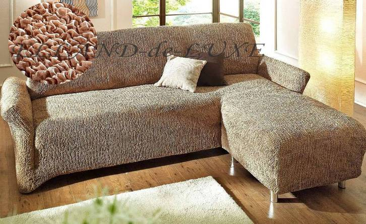 3 2 sofahusse ottomane husse rechts ecksofa braun caramel stoff neu ebay. Black Bedroom Furniture Sets. Home Design Ideas