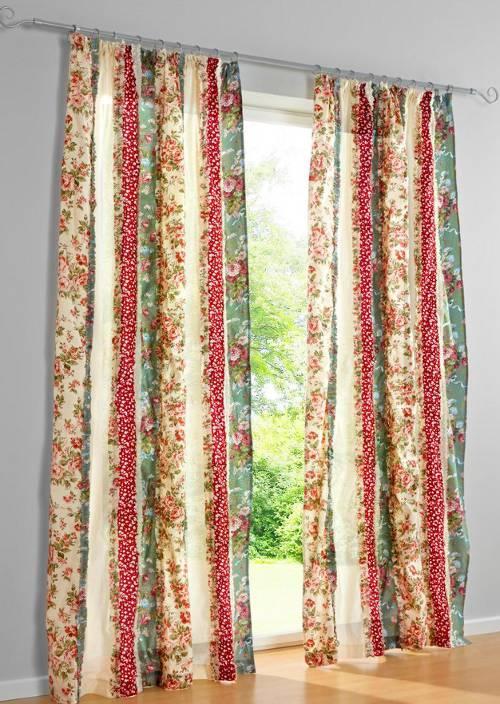 gardine 140 x 225 bunt rosen r schen landhaus stil vorhang kr uselband neu ebay. Black Bedroom Furniture Sets. Home Design Ideas