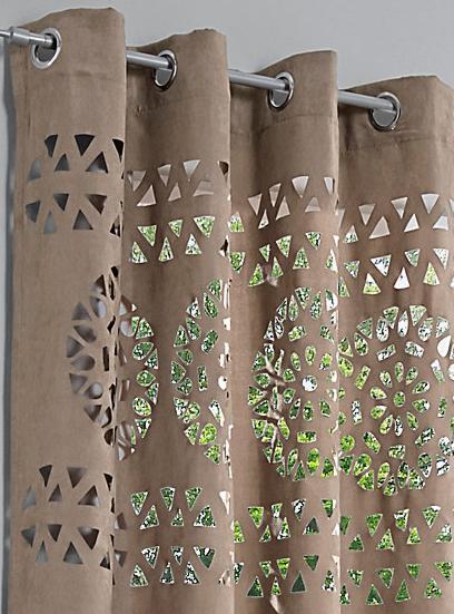 1 st dekoschal 140 x 225 beige taupe lochmuster blickdicht. Black Bedroom Furniture Sets. Home Design Ideas