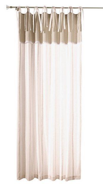 1 st gardine 135 x 215 wei beige punkte streifen schal vorhang bindeb nder ebay. Black Bedroom Furniture Sets. Home Design Ideas