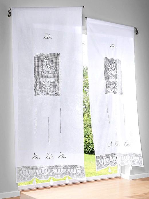 1 st fenster t rstore 60 x 160 wei stickerei landhaus gardine tunnel neu ebay. Black Bedroom Furniture Sets. Home Design Ideas