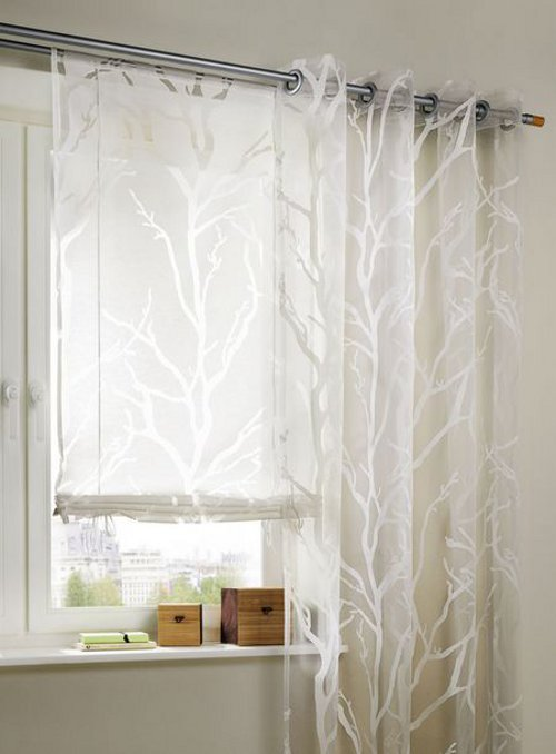 roller blinds 120 x 140 transparent branches burnouts curtain drawstring new ebay. Black Bedroom Furniture Sets. Home Design Ideas