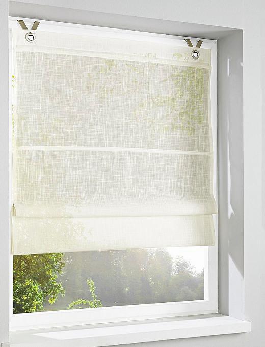 2 st easyfix raffrollo 60 120 x 140 wei rollo leinen optik haken sen neu ebay. Black Bedroom Furniture Sets. Home Design Ideas