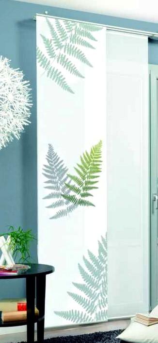 1 st schiebegardine 60 x 245 wei gr n farn motiv. Black Bedroom Furniture Sets. Home Design Ideas