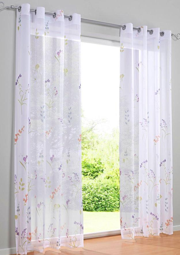 gardine 135 x 225 oder 245 wei bunt floraler druck store sen kr uselband neu ebay. Black Bedroom Furniture Sets. Home Design Ideas