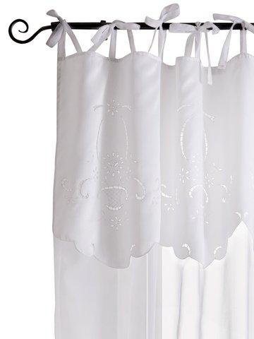 1 st gardine 140 x 215 wei richelieu stickerei vorhang schal bindeb nder neu ebay. Black Bedroom Furniture Sets. Home Design Ideas