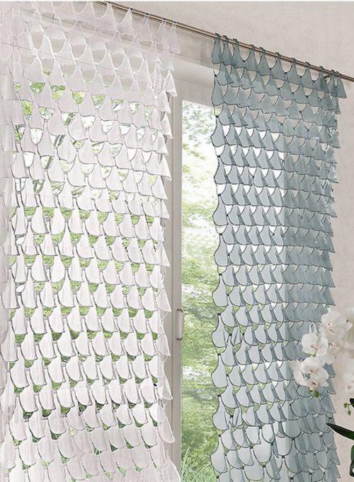 1 st gardine 120 x 245 grau fischschuppen optik transparent vorhang tunnel neu ebay. Black Bedroom Furniture Sets. Home Design Ideas