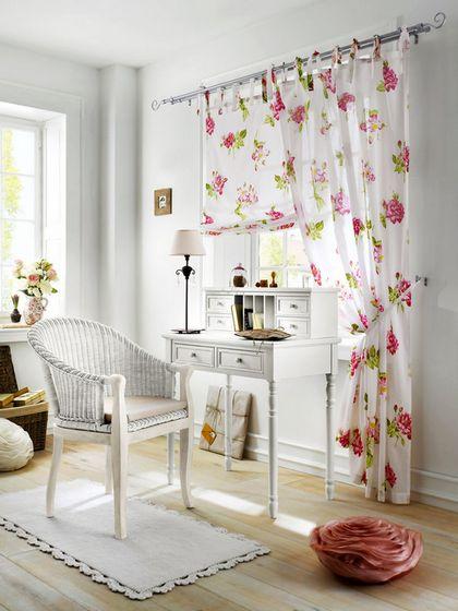 1 st raffrollo rollo 120 x 140 wei rosa blumen landhaus. Black Bedroom Furniture Sets. Home Design Ideas