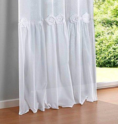 2 st gardine 140 x 225 wei rosen applikation volant vorhang bindeb nder neu ebay. Black Bedroom Furniture Sets. Home Design Ideas