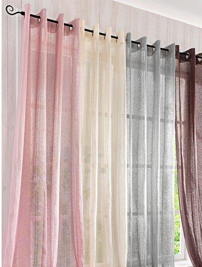 1 st vorhang gardine 150 x 245 grau sen deko schal leinen. Black Bedroom Furniture Sets. Home Design Ideas