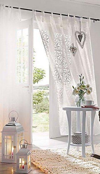1 st gardine vorhang 140 x 215 240 wei bindeb nder schal halbtransparent neu. Black Bedroom Furniture Sets. Home Design Ideas