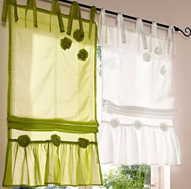 1 st raffrollo 60 x 140 wei rose r sche rollo baumwolle bindeb nder neu. Black Bedroom Furniture Sets. Home Design Ideas