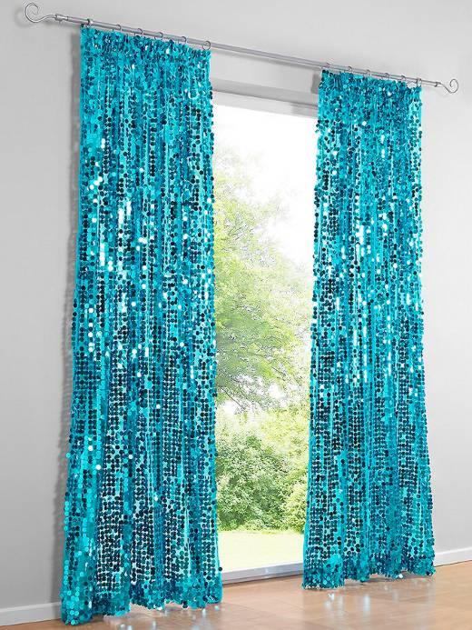 1 st dekostore 138 x 225 t rkis blau pailletten party vorhang kr uselband neu ebay. Black Bedroom Furniture Sets. Home Design Ideas