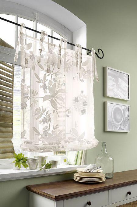 1 st raffrollo 100 x 140 wei ausbrenner blumen transparent bindeb nder neu ebay. Black Bedroom Furniture Sets. Home Design Ideas