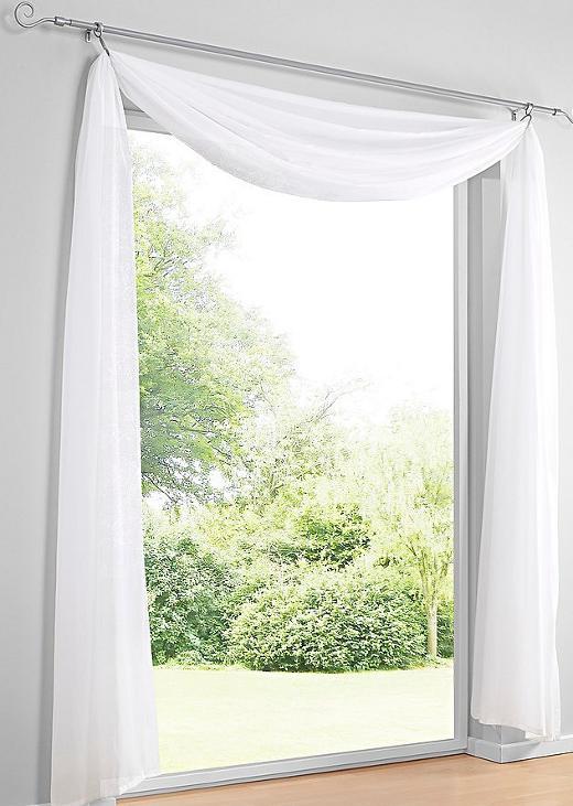 1 st freihanddeko 200 x 145 creme voile freihandbogen. Black Bedroom Furniture Sets. Home Design Ideas