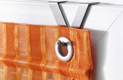 2 heine raffrollos je 45x130 terra streifen glanzeffekt rollo easyfix sen haken ebay. Black Bedroom Furniture Sets. Home Design Ideas