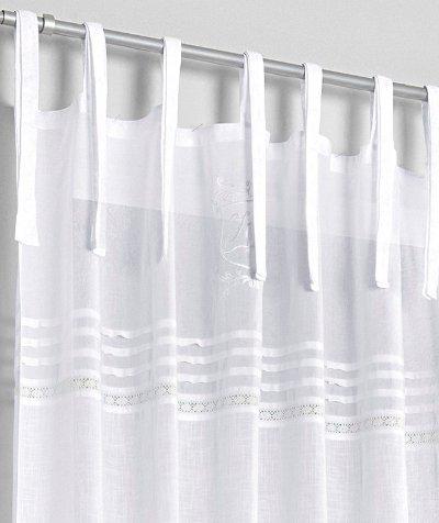 1 st dekoschal 140 x 225 wei von heine bestickt gardine store bindeb nder neu ebay. Black Bedroom Furniture Sets. Home Design Ideas
