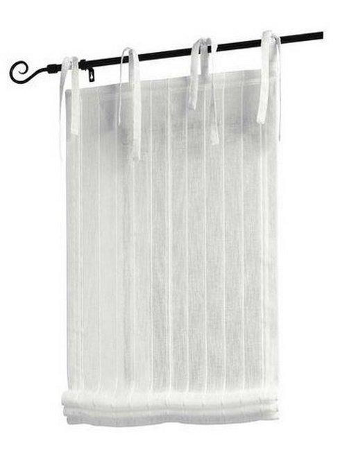 1 st raffrollo 80 x 140 creme wei streifen transparent rollo bindeb nder neu ebay. Black Bedroom Furniture Sets. Home Design Ideas