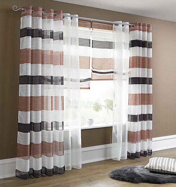 1 st raffrollo 100 x 140 wei anthrazit braun streifen heine rollo tunnel neu ebay. Black Bedroom Furniture Sets. Home Design Ideas