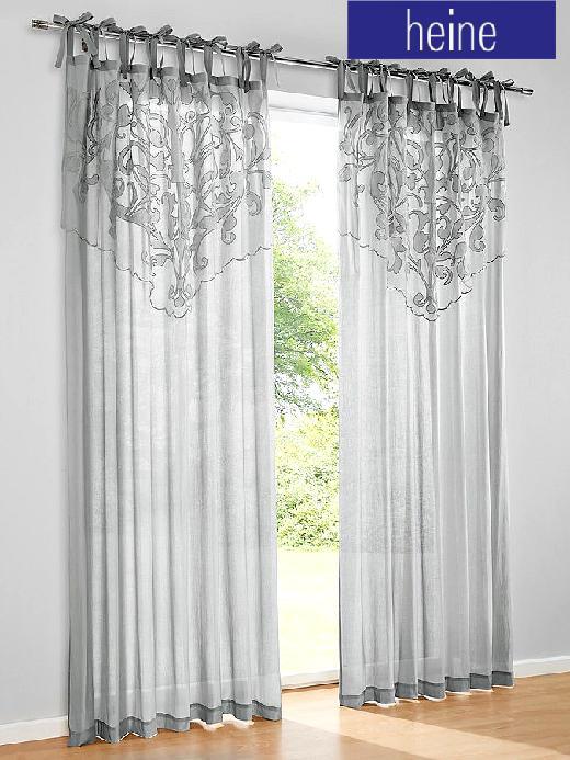 1 st gardine 135 x 225 grau von heine applikation dekostore bindeb nder neu ebay. Black Bedroom Furniture Sets. Home Design Ideas