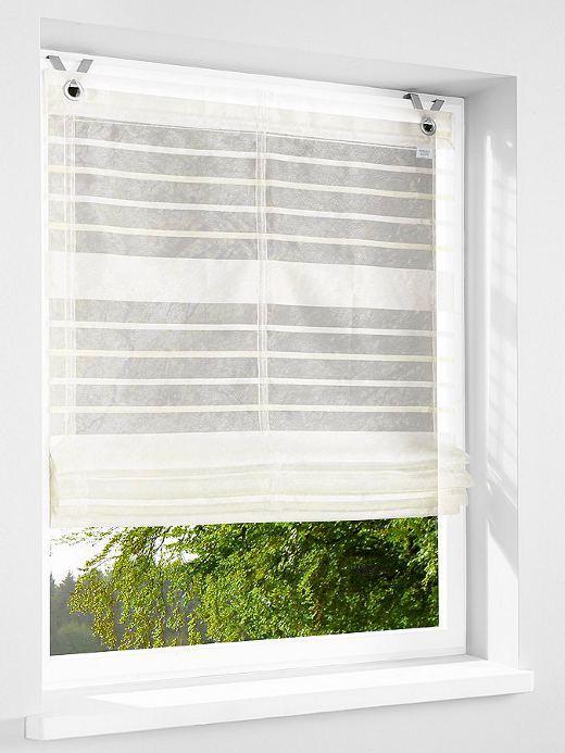 1 st raffrollo 80 x 140 wei sand gestreift by heine. Black Bedroom Furniture Sets. Home Design Ideas