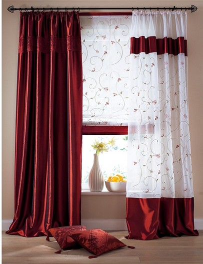 1 st raffrollo raff rollo voile 100 x 170 wei rosa bordeaux rot bestickt neu ebay. Black Bedroom Furniture Sets. Home Design Ideas