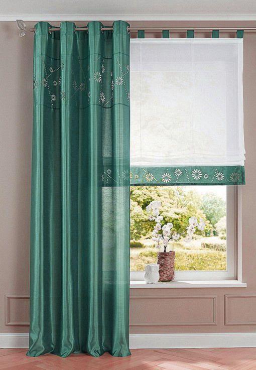 2x raffrollo 45 x 140 wei petrol seidenoptik taft rollo vorhang schlaufen neu ebay. Black Bedroom Furniture Sets. Home Design Ideas