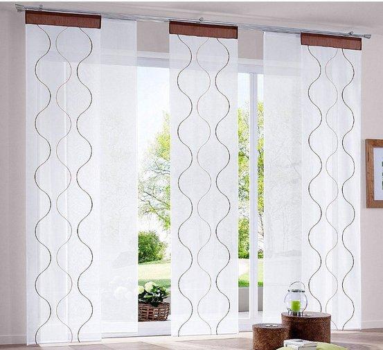 2 st schiebegardine schiebevorhang 57 x 225 weiß braun gardine, Wohnzimmer