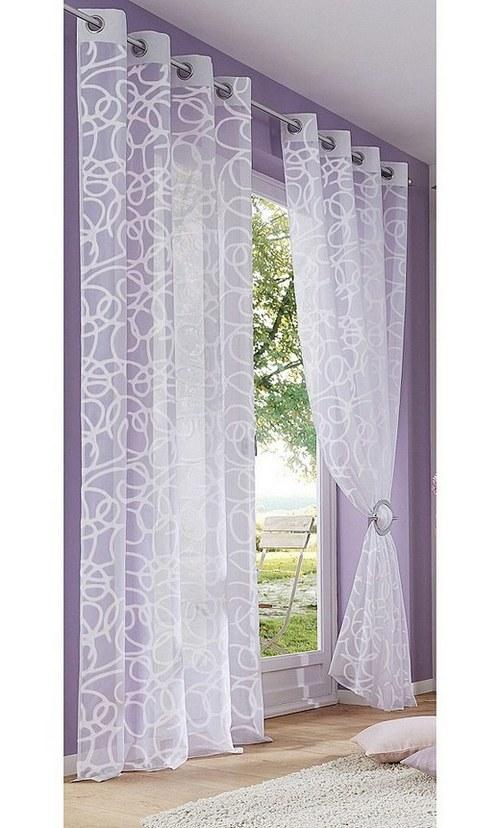 2 st gardine 140 x 245 wei bedruckt schlingen motiv. Black Bedroom Furniture Sets. Home Design Ideas
