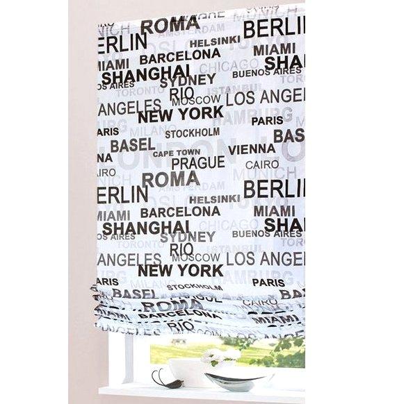 1 st raffrollo raff rollo 80 x 170 wei schwarz flauschband transparent neu ebay - Raffrollo schwarz weiay ...