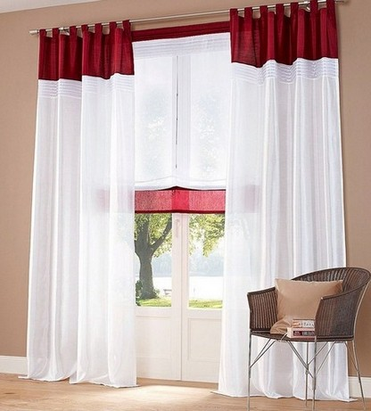 1 st raffrollo raff rollo 120 x 140 wei bordeaux rot transparent voile neu. Black Bedroom Furniture Sets. Home Design Ideas