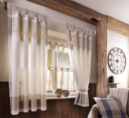 2x gardine 140 x 225 natur wei landhaus stil leinen optik schlaufen schal neu ebay. Black Bedroom Furniture Sets. Home Design Ideas