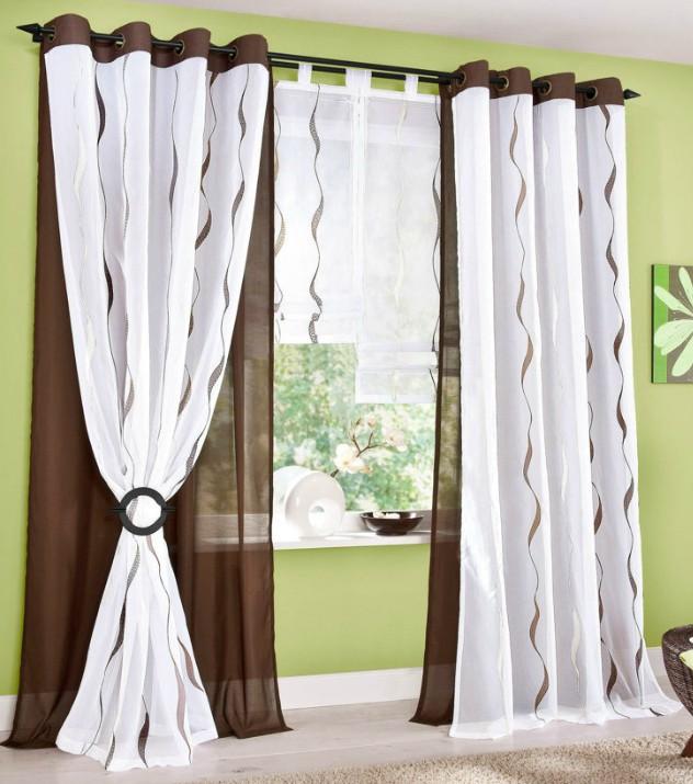 1 roller blinds 120 x 140 white brown embroidered. Black Bedroom Furniture Sets. Home Design Ideas