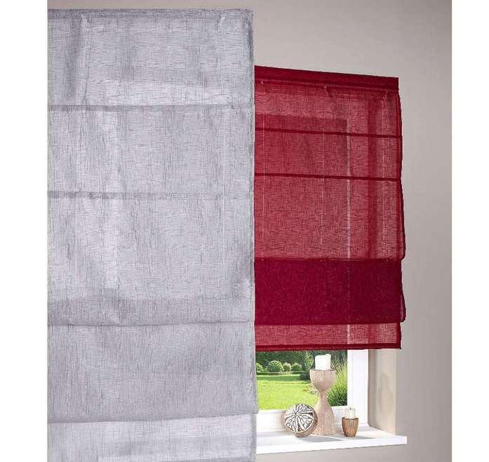 1 st raffrollo 60 x 150 grau leinen optik rollo transparent flauschband neu ebay. Black Bedroom Furniture Sets. Home Design Ideas