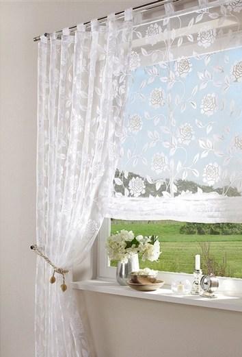 1 st raffrollo rollo 80 x 160 wei blume schlaufen vorhang. Black Bedroom Furniture Sets. Home Design Ideas