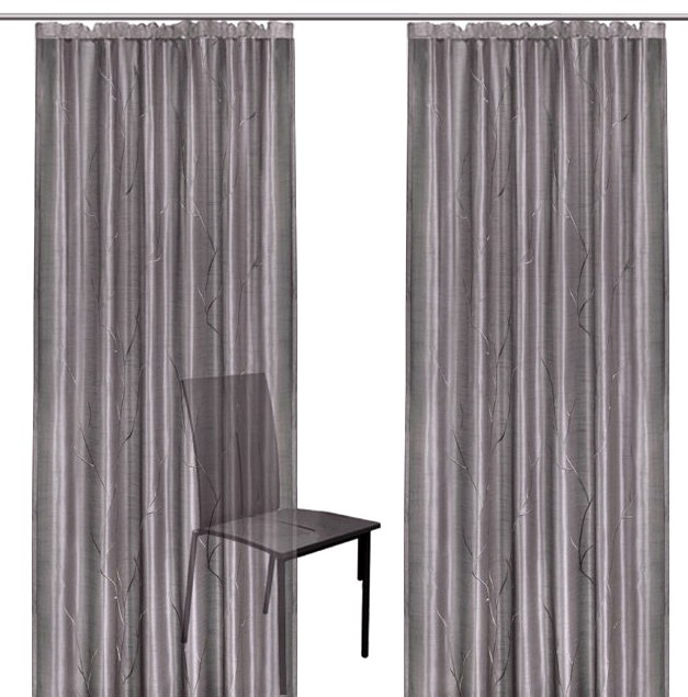 2 st gardine je 140 x 175 grau bestickt kr uselband schal vorhang transparent ebay. Black Bedroom Furniture Sets. Home Design Ideas