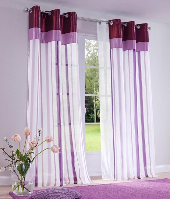 1 st gardine vorhang 140 x 245 wei flieder lila sen. Black Bedroom Furniture Sets. Home Design Ideas