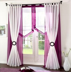 2 st gardine vorhang voile store 145 x 145 lila schal sen neu ebay. Black Bedroom Furniture Sets. Home Design Ideas