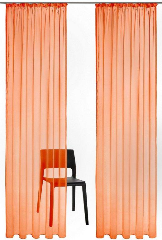 1 st gardine voile schal 140 x 145 apricot orange vorhang transparent neu ebay. Black Bedroom Furniture Sets. Home Design Ideas
